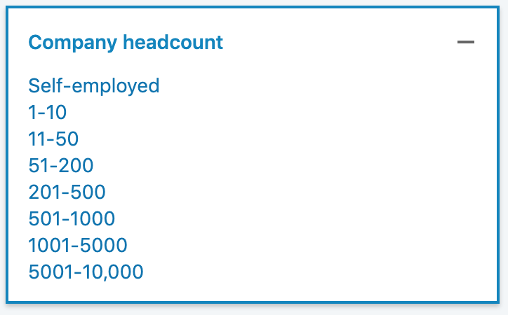 how to use sales navigator with company headcount