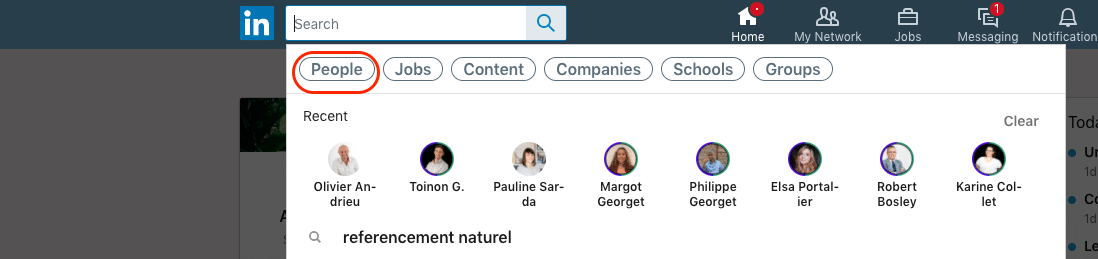 linkedin people search page