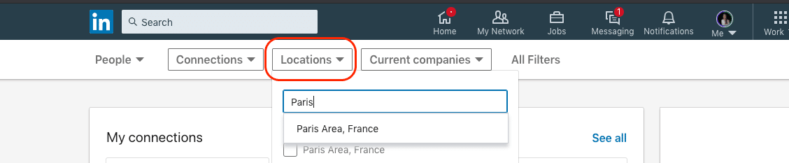 linkedin locations filter