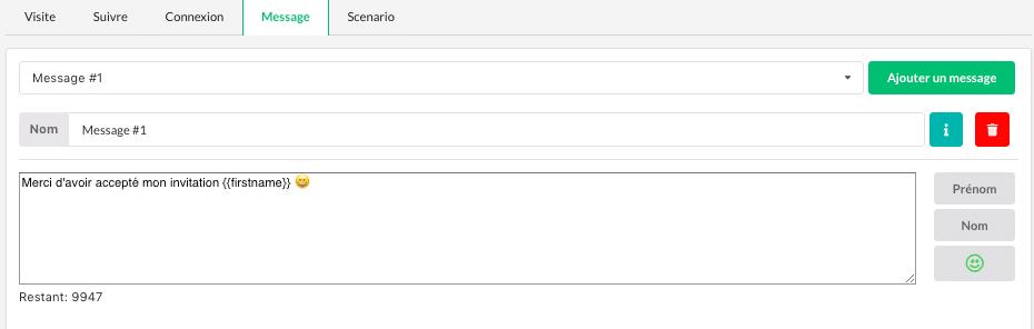envoyer un message automatique avec prospectin sur linkedin