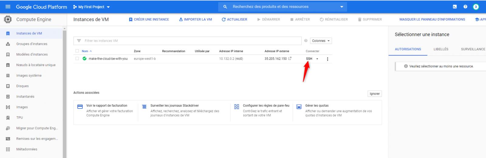 finish the configuration on google cloud platform