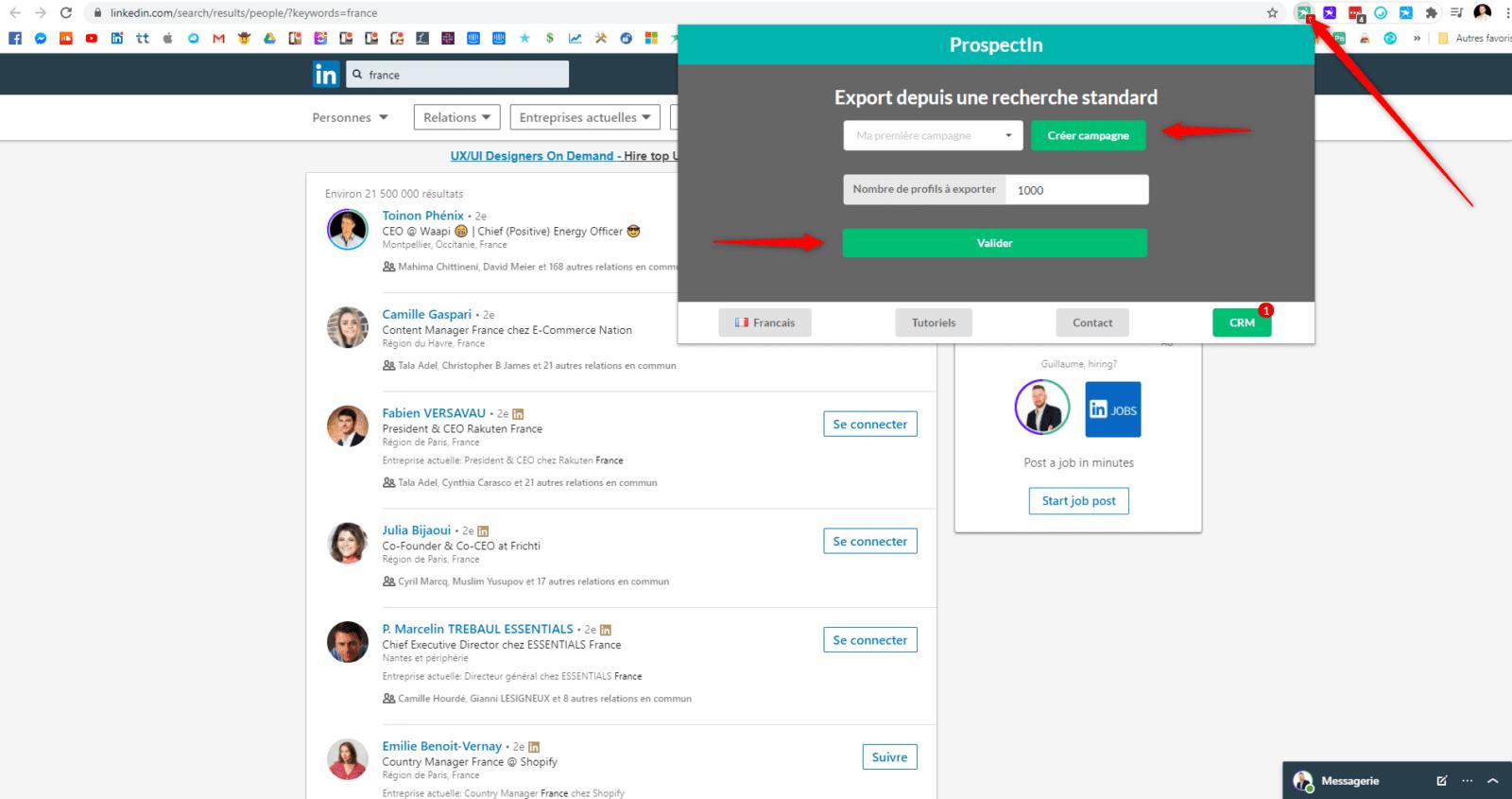 Exporter des prospects depuis LinkedIn