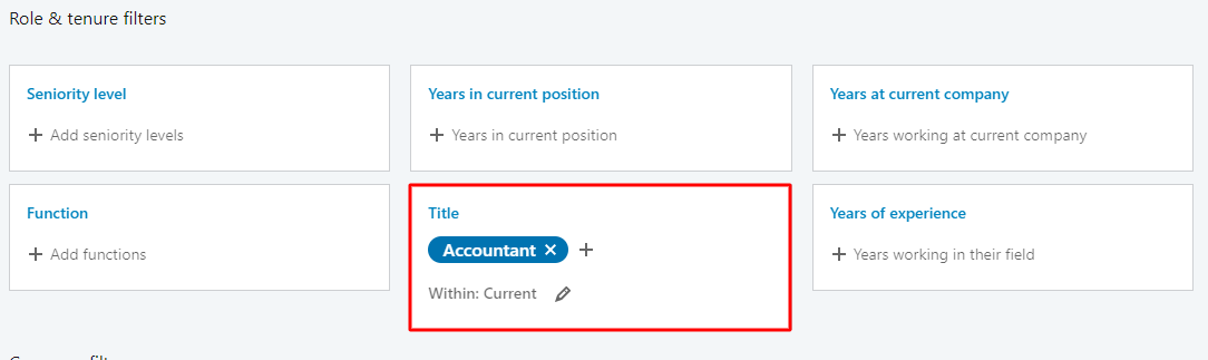 select title job on linkedin sales navigator