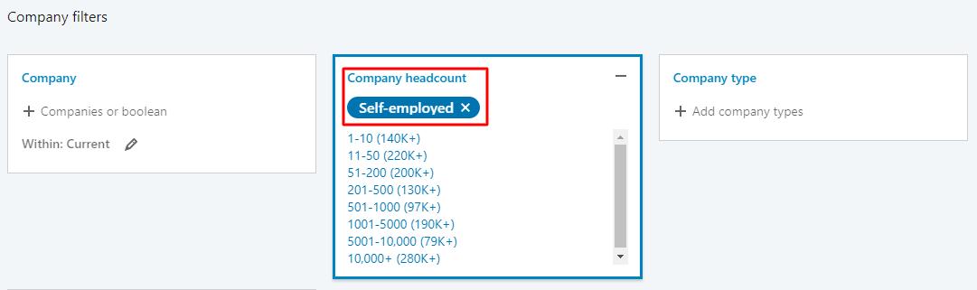 select self employee linkedin