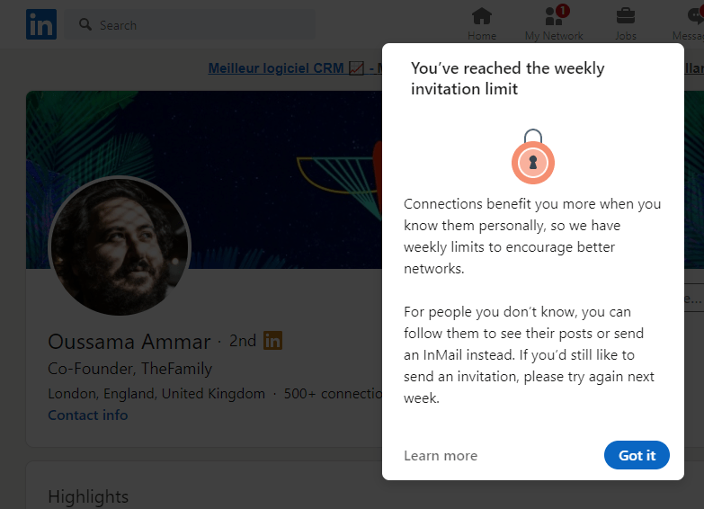 Account restricted by LinkedIn